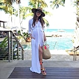 A Shirt Dress, Statement Sandals, and a Wide-Brim Hat
