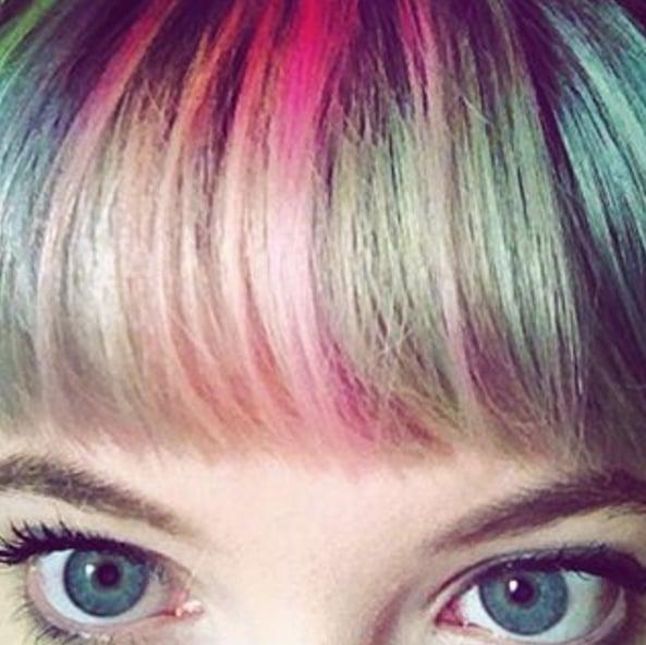 Rainbow Bangs Hair Colour Trend