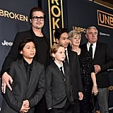 Brad Pitt and Kids at LA Premiere of Unbroken Pictures