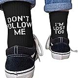 Novelty Don't Follow Me Crew Socks