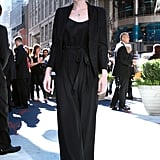 Carey looks chic in a jumpsuit whilst promoting Wall Street: Money Never Sleeps.