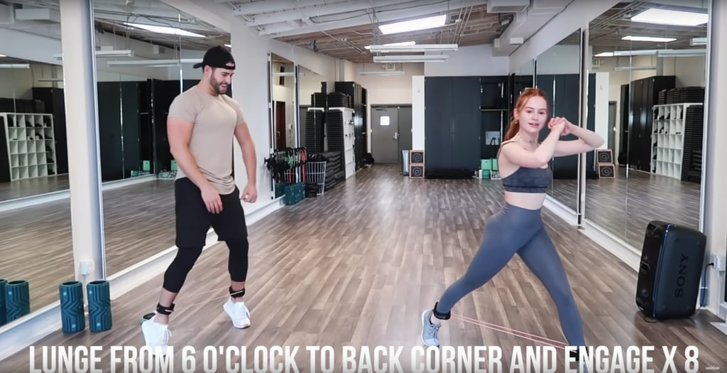 Bring your back leg from the 6 o'clock lunge position to an angle, keeping your standing leg planted the whole time. Do the previous three moves again for the other leg.