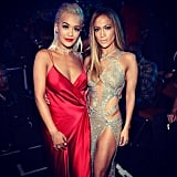 Jennifer Lopez and Rita Ora showcased their stunning gowns in this picture.