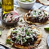 Beer-Braised Short Ribs Tostadas With Tomatillo Salsa