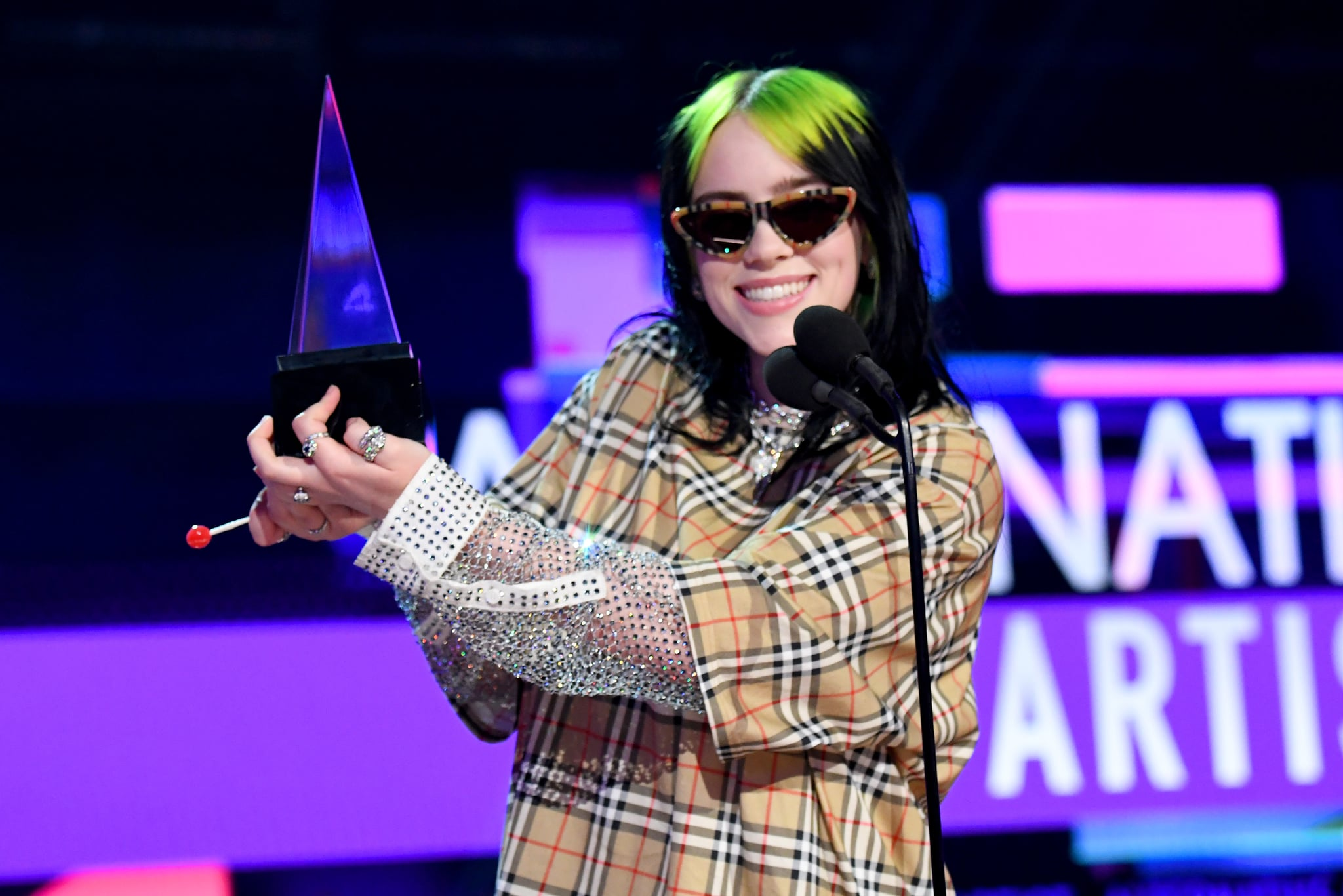 LOS ANGELES, CALIFORNIA - NOVEMBER 24: Billie Eilish accepts the Favourite Artist - Alternative Rock award onstage during the 2019 American Music Awards at Microsoft Theatre on November 24, 2019 in Los Angeles, California. (Photo by Jeff Kravitz/AMA2019/FilmMagic for dcp)