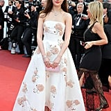 Wearing a Floral Appliqué Dior Gown