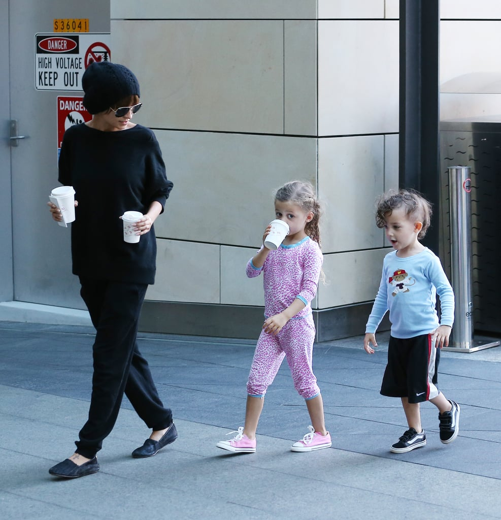 Nicole Richie was dressed in black for a low-key coffee run in Sydney with her kids yesterday. While she tried to keep a low profile in a beanie and sunnies, her daughter Harlow looked adorable in a matching pink print ensemble, while her son Sparrow showed off his punk-inspired half-shaved hair. They stayed close to their mum as she put in their hot chocolate orders and even tried to peer over the counter at the cafe. Nicole's husband Joel Madden kept busy last night as The Voice celebrated the start of next week's live shows with a jam session at The Beresford Hotel. Each of the coaches' teams took to the stage for some fun performances, with some of the coaches, such as Seal and Ricky Martin, joining in for some songs.