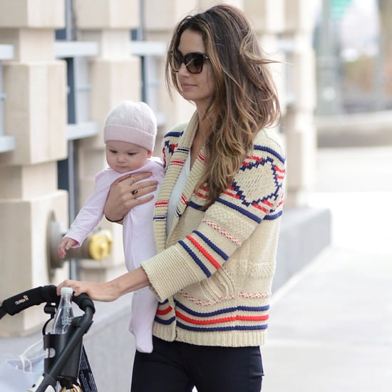 Lily Aldridge Wearing Printed Cardigan