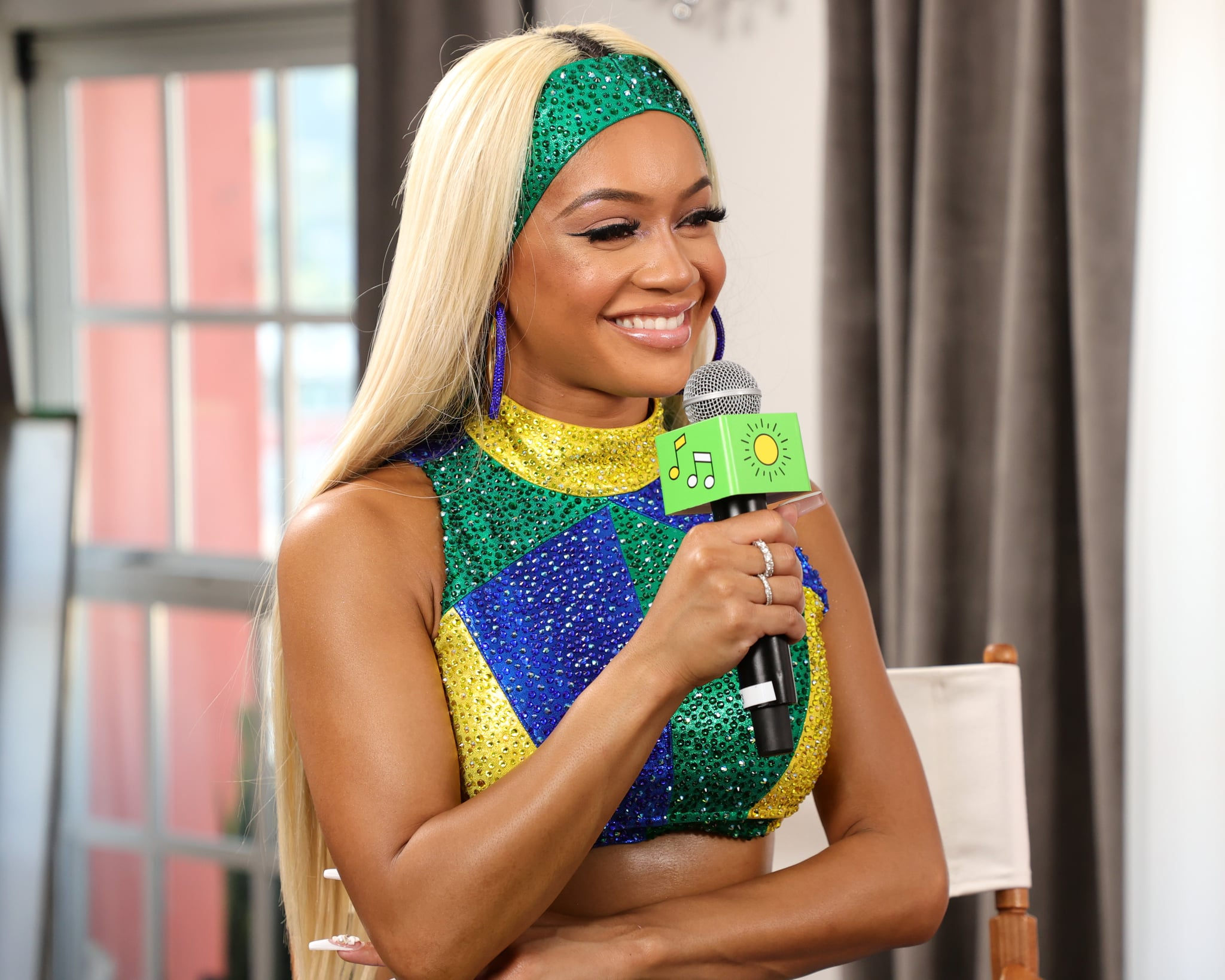 LOS ANGELES, CALIFORNIA - AUGUST 12: Saweetie speaks backstage at Sprite's Live from the Label Virtual Concert Series headlined by multi-platinum-selling songwriter & rapper Saweetie at the Hollywood Roosevelt on August 12, 2021 in Los Angeles, California. (Photo by Rich Fury/Getty Images for Sprite)