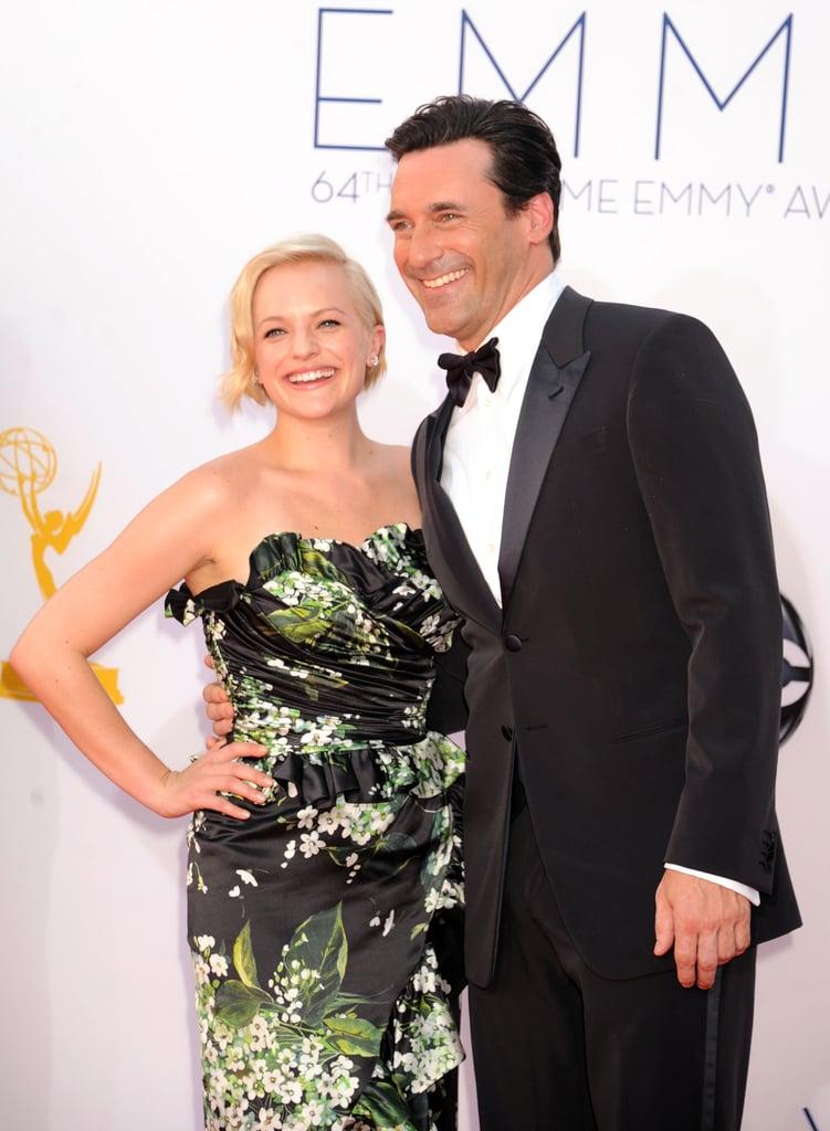 Jon Hamm and Elizabeth Moss were all smiles.