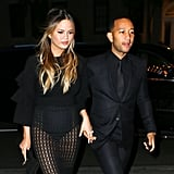 Chrissy showed skin in a mesh skirt for a night out in NYC.