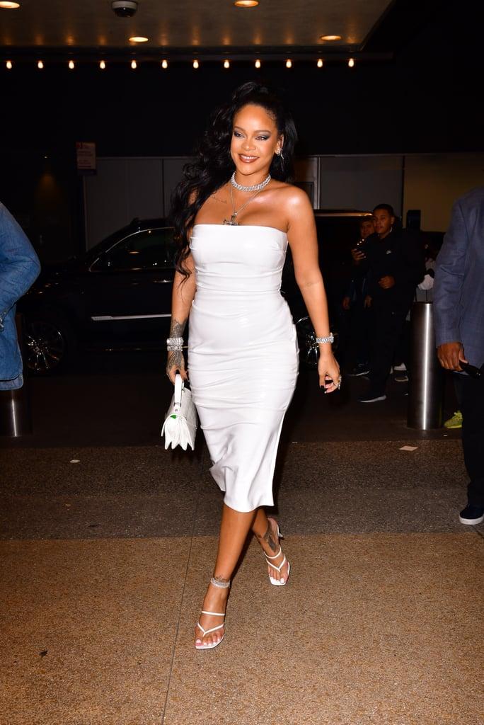 Rihanna's White Alex Perry Dress Fenty Sandals October 2019