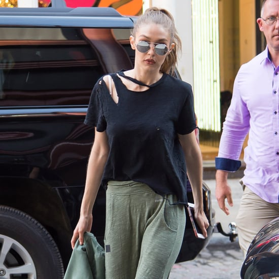 Gigi Hadid Wearing Khaki Reebok Trackpants