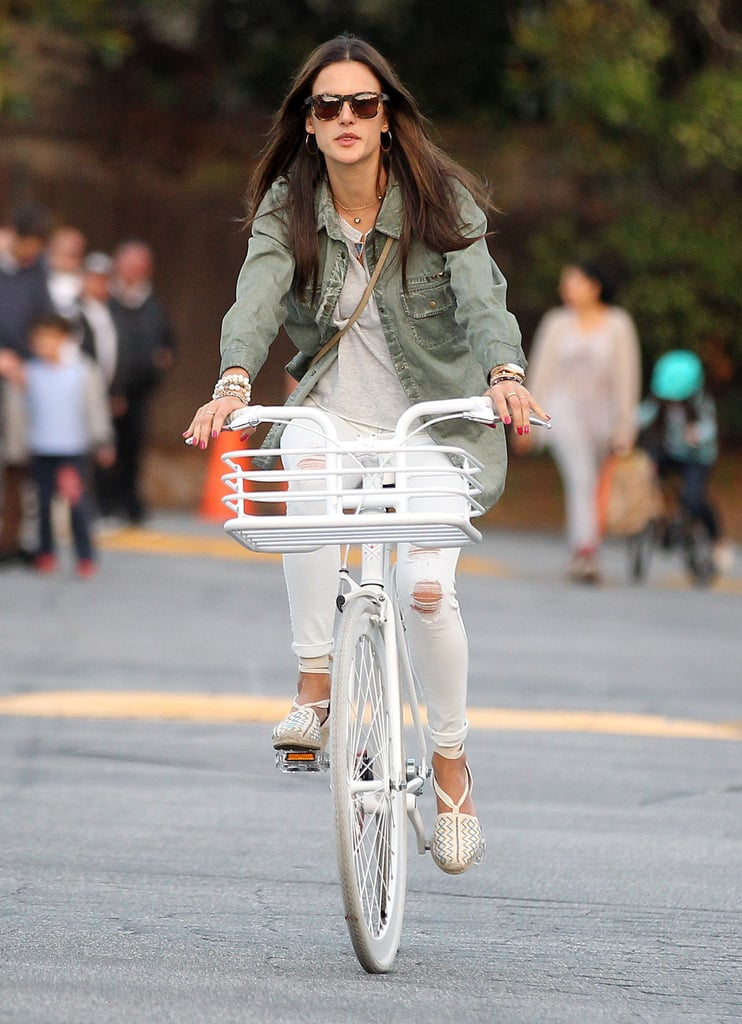 On Sunday, Alessandra Ambrosio went for a bike ride in LA.