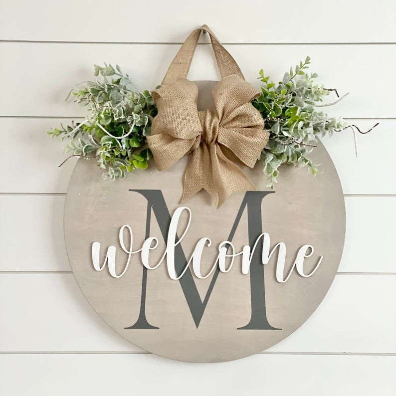Winter Initial Welcome Door Hanger
