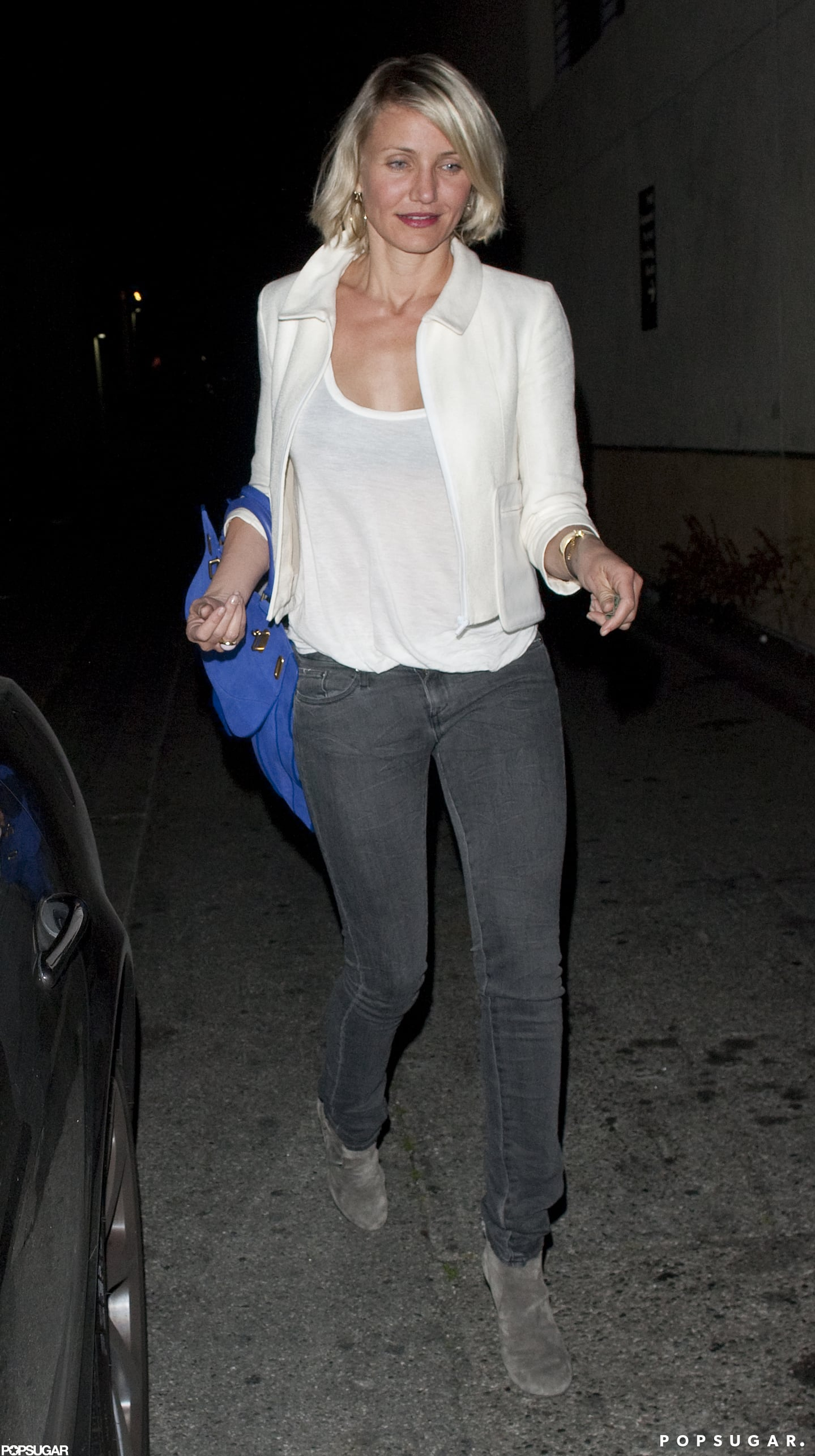 Cameron Diaz in a white blazer.