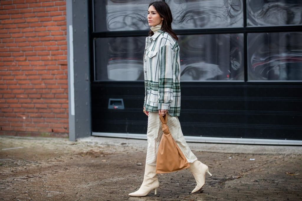 The Knee-High Boot Outfit: A Printed Jacket + Skirt + Unique Bag