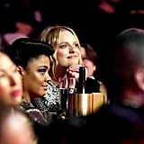 Tessa Thompson and Elisabeth Moss at the 2019 MTV Movie and TV Awards