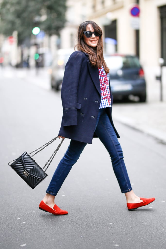 The preppy route: with practical, menswear-inspired flats and an overcoat