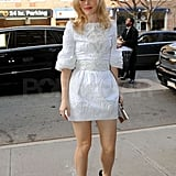 Rachel McAdams hit the pavement in stilettos.