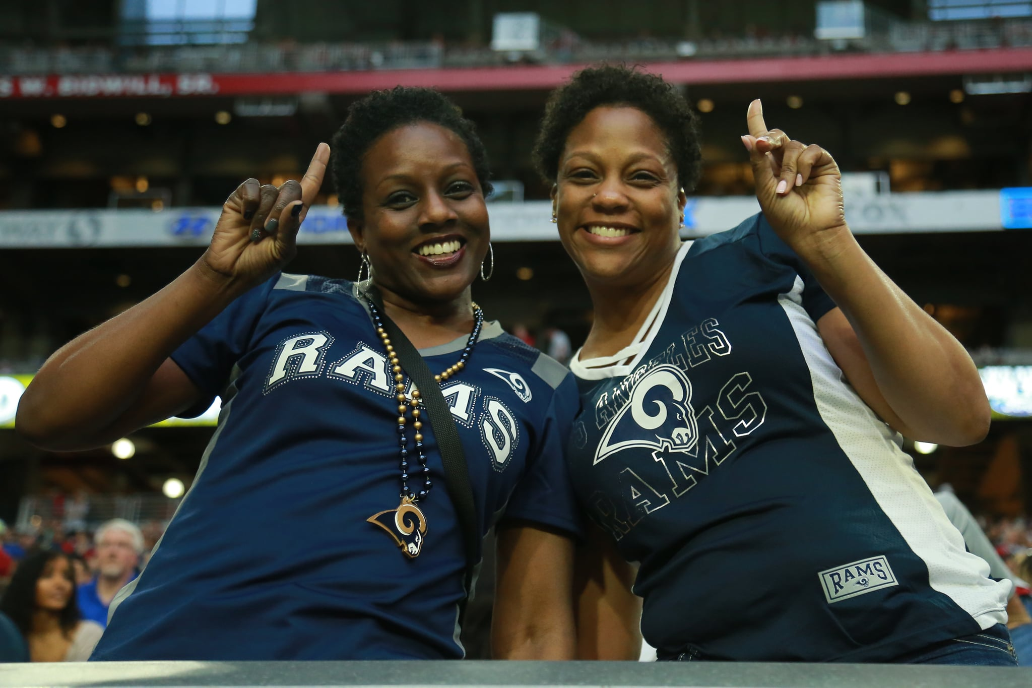 GLENDALE, ARIZONA - DECEMBER 23: Los Angeles Rams fans enjoying the 31-9 win over the Arizona Cardinals at State Farm Stadium on December 23, 2018 in Glendale, Arizona. (Photo by Leon Bennett/Getty Images)