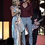 Carrie Underwood spoke on stage with Tim McGraw.