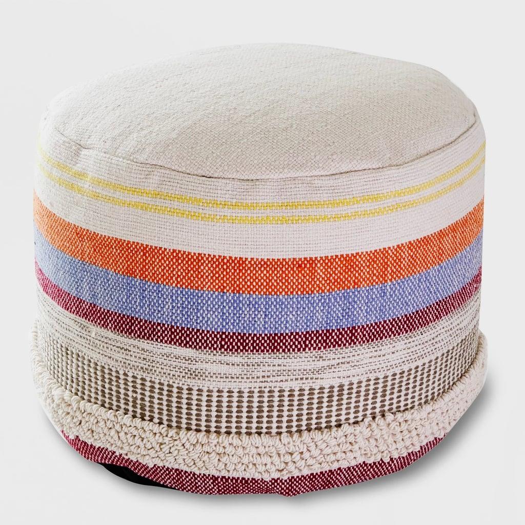 Woven Stripe Outdoor Pouf