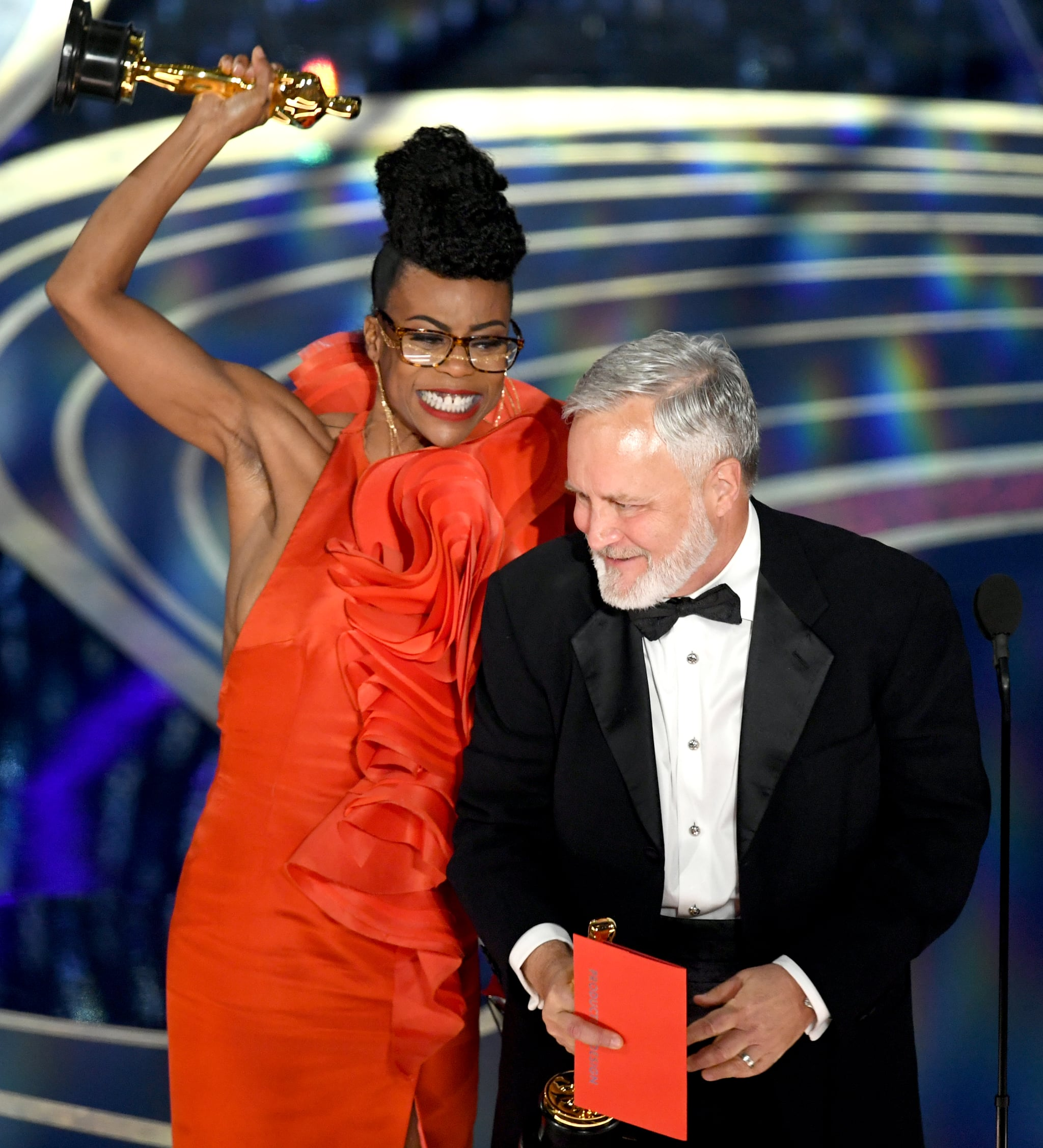 HOLLYWOOD, CALIFORNIA - FEBRUARY 24: (L-R) Hannah Beachler and  Jay Hart accept the Production Design award for 'Black Panther' onstage during the 91st Annual Academy Awards at Dolby Theatre on February 24, 2019 in Hollywood, California. (Photo by Kevin Winter/Getty Images)