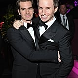 Andrew Garfield and Eddie Redmayne cuddled up at the InStyle and Warner Bros. afterparty in 2017.