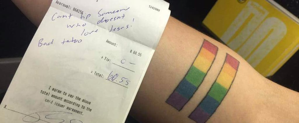 WTF: This Server Wasn't Given a Tip Because of Their LGBTQ+ Rainbow Tattoo