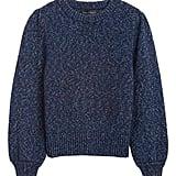 Metallic Puff-Sleeve Sweater
