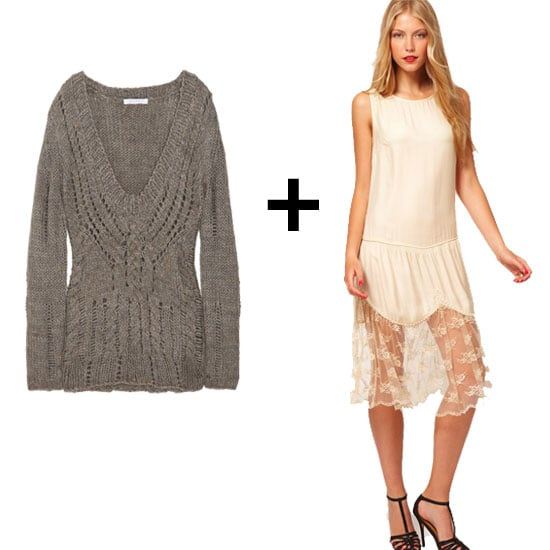 The hemline on this little slip dress was meant for exposing. Let it peek out underneath a great staple sweater, like this cable-knit in a classic, go-with-everything chestnut hue.  Duffy Cable-Knit Sweater ($79, originally $225) ASOS Vintage Slip Dress ($53, originally $129)