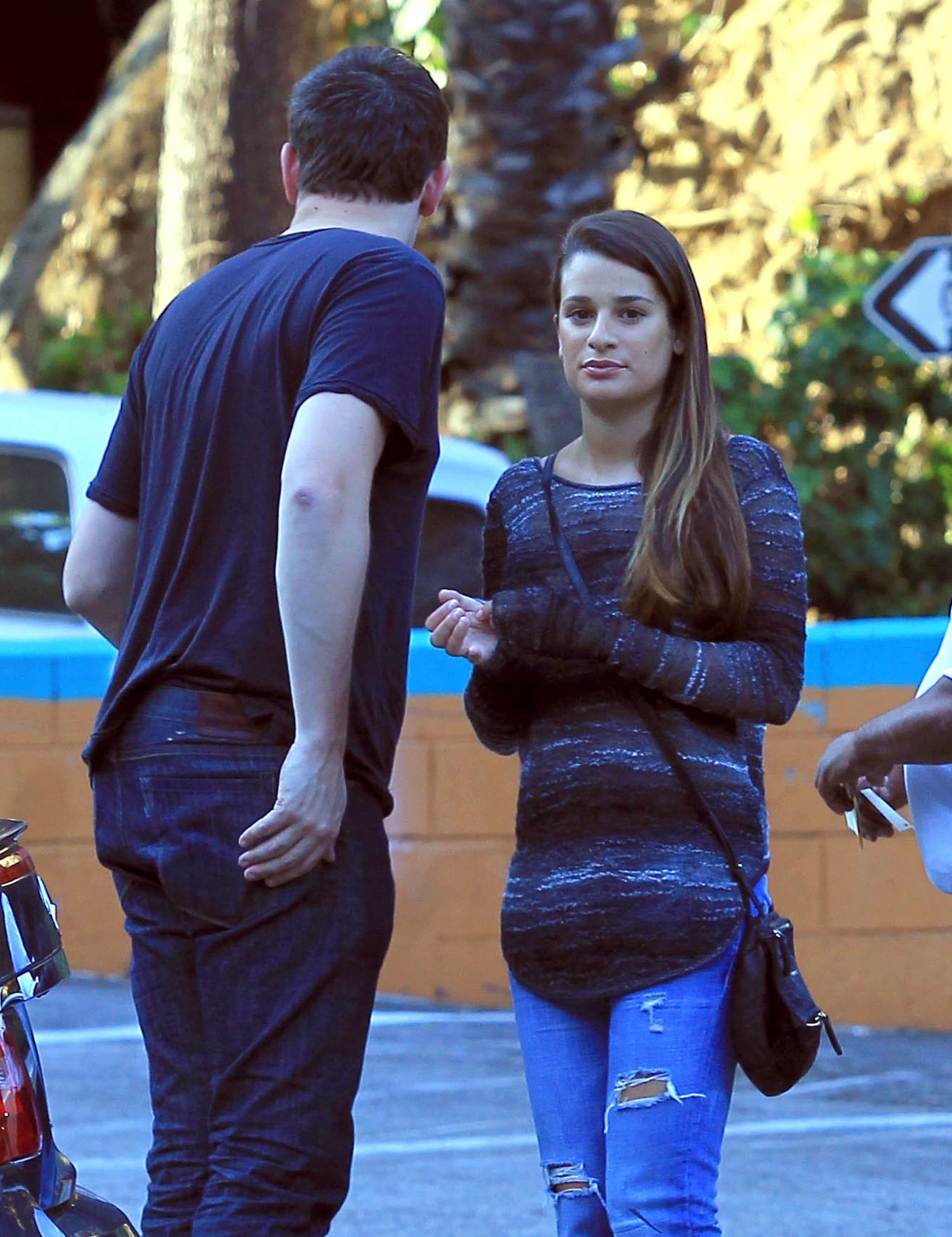 Glee's Cory Monteith and Lea Michele headed home.