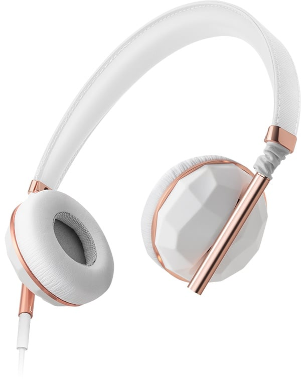 """The headphones: Caeden Linea Nº1 ($150) The why: """"They are so handsome in the white with rose gold; they truly glam up my look. And the sound is super crisp. Utility meets style!"""" — Ricki Rubin, senior merchant"""