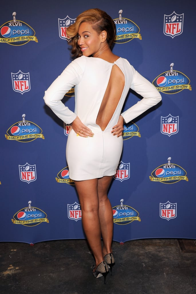 Beyoncé brought sexy back in a white minidress for the Super Bowl Halftime Show press conference in January 2013.