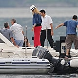 Stacy Keibler boarded a boat on Lako Como with George Clooney.