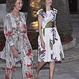 Queen Sofia and Queen Letizia Coordinated in Floral Outfits