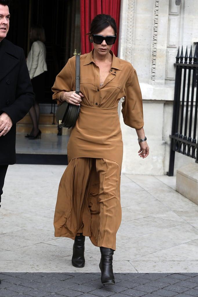 Victoria Beckham Tan Pleated Dress in Paris