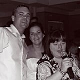 Willson, on her wedding day, with her husband and sister, Dina.