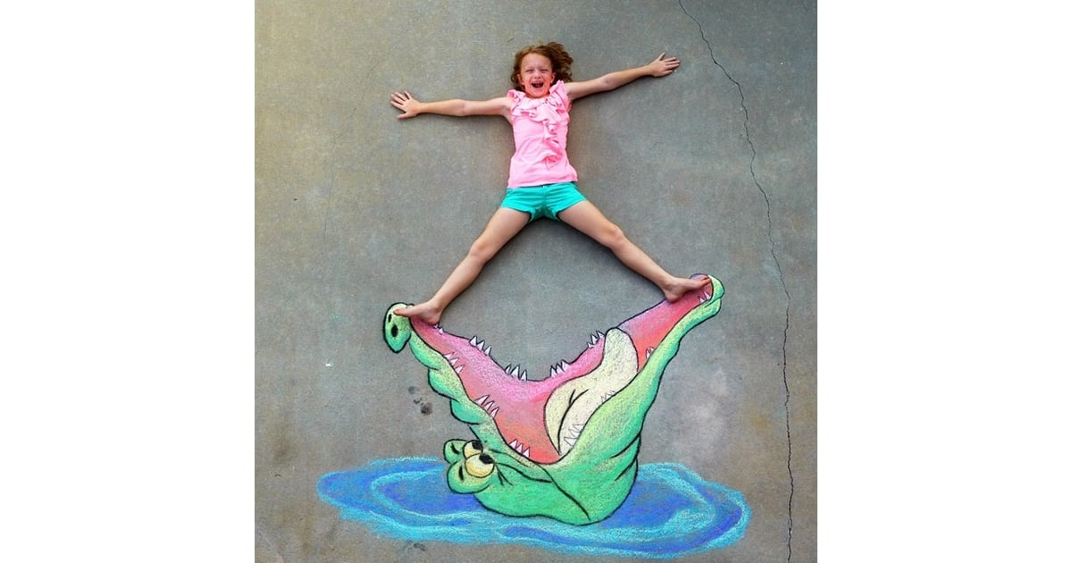 ticktock crocodile chalk drawing amazing images from