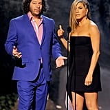 Jennifer Aniston and Jeffrey Ross hit the stage.