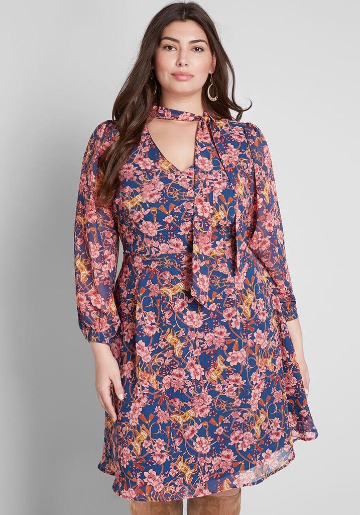 Modcloth Apogee of Elegance Long-Sleeve Dress