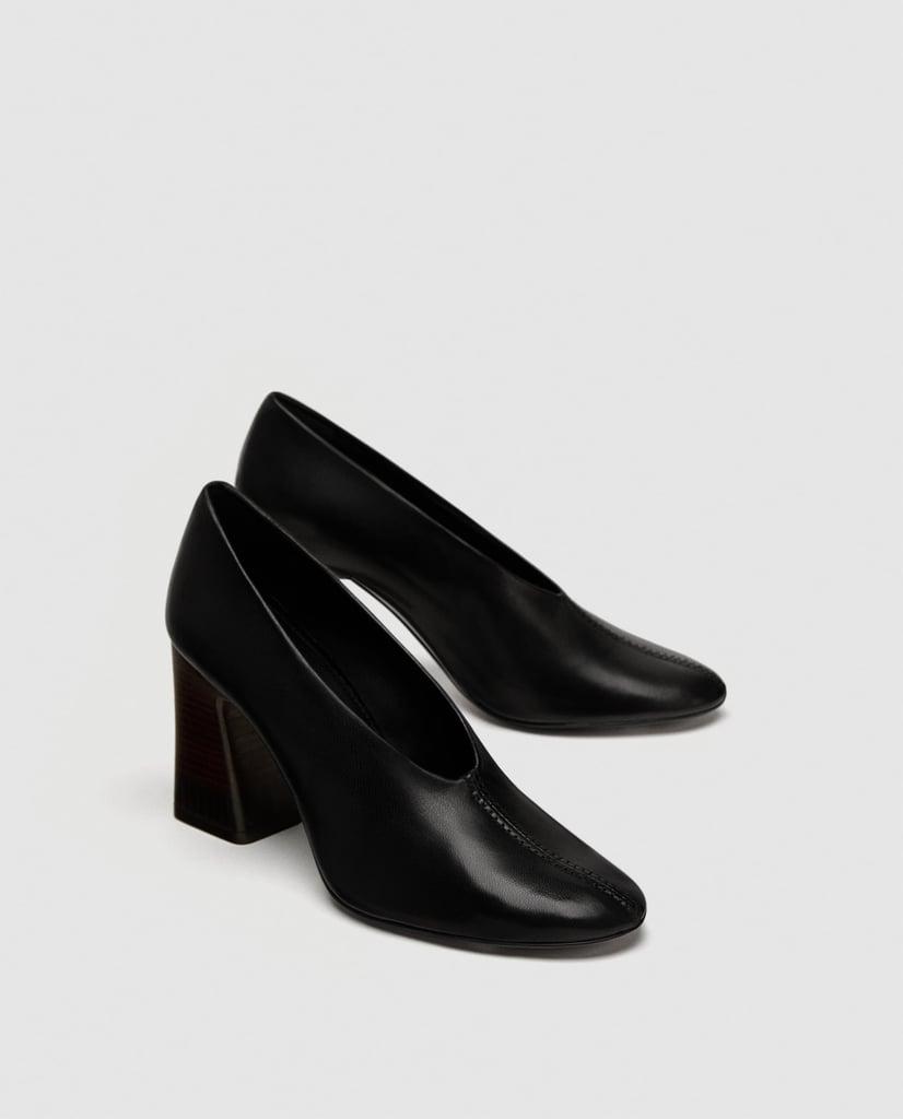 Zara V Vamp Soft Leather Court Shoes
