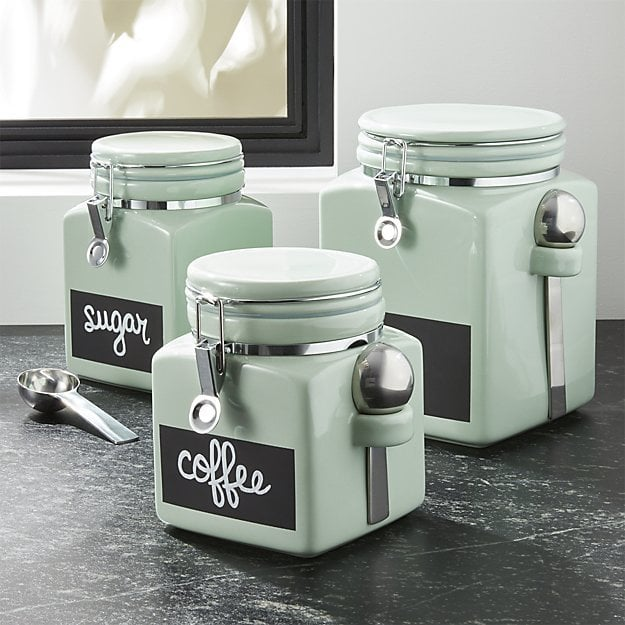 Crate Barrel Pistachio Clamp Canisters Retro Kitchen Items