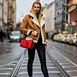 Pick Leather-Look Leggings to Offset a Shearling Aviator Jacket