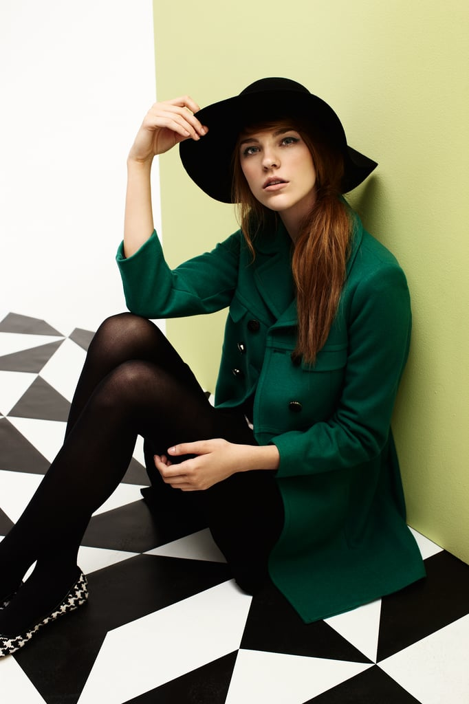 Hat $79,60s Coat $399, Stripe Knit $149, Flip Skirt $159 and Ballet Flats $129.