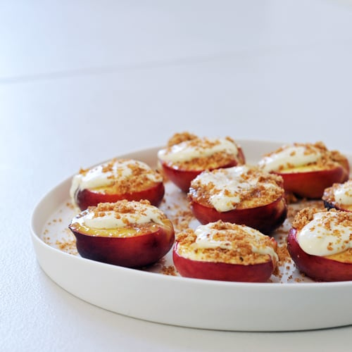 Honey-Baked Nectarines With Vanilla Crème Fraiche