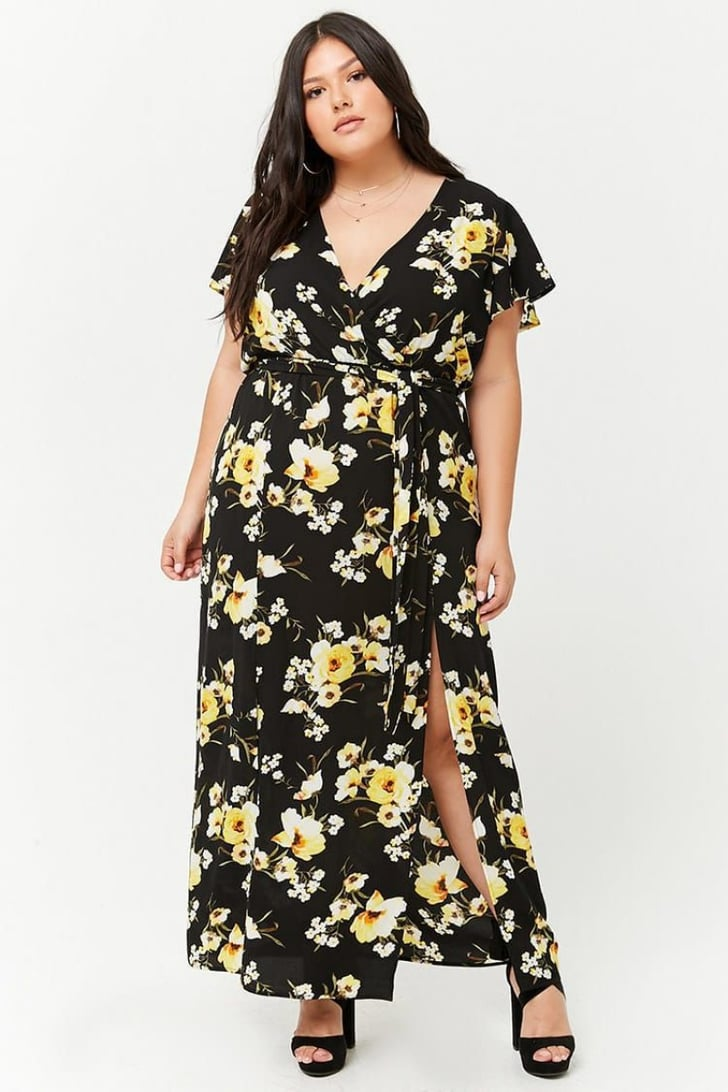 Forever 21 Plus Size Floral Surplice M Slit Maxi Dress