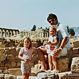 Four-year-old Kate Middleton, her father Michael, and younger sister Pippa posed on a family vacation in Jerash, Jordan.   © The Middleton Family, 2011. All rights reserved.