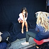She posted this behind-the-scenes photo from her Brunette Ambition book cover photo shoot in May 2013. Source: Instagram user msleamichele